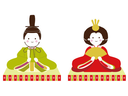 Vector illustration of a doll of the Japanese Girls ' Festival. And March 3. Japanese celebrate Doll Festival (Girl's Festival). The festival is held to pray for young girls ' health and happiness.