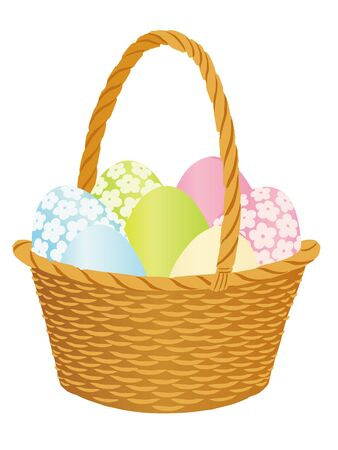 Happy Easter design. Colorful Basket with eggs. Vector illustration.