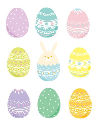 Happy Easter illustration with colored eggs Vectores