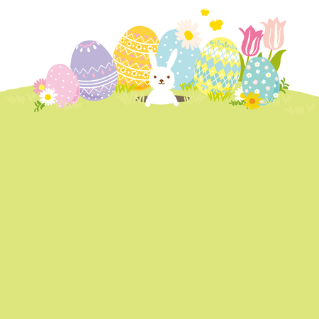 Happy Easter illustration with colored eggs 일러스트