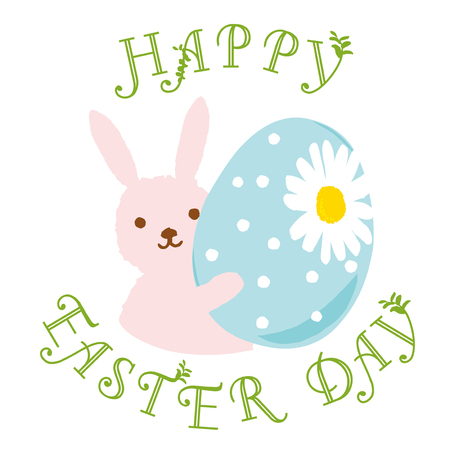 Cute Easter Bunny with eggs and flowers for easter card. Cartoon Rabbit isolated on white... Vector illustration