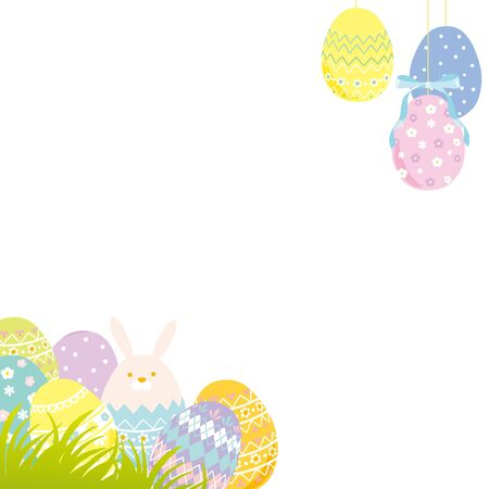 Happy Easter illustration with colored eggs Illustration