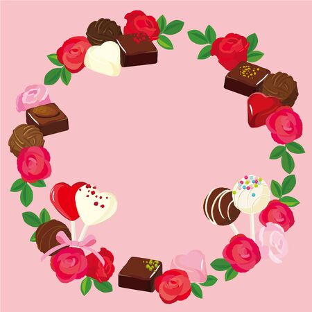 Vector round frame of roses and chocolate. Valentines Day illustration Illustration