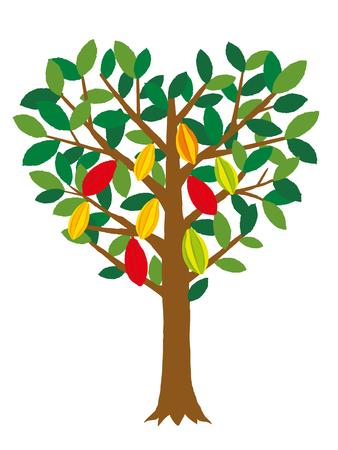 Heart-shaped cacao tree Illustration
