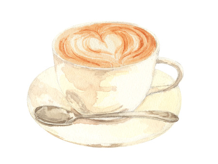 Cup of hot late coffee with spoon.watercolor painting on white background