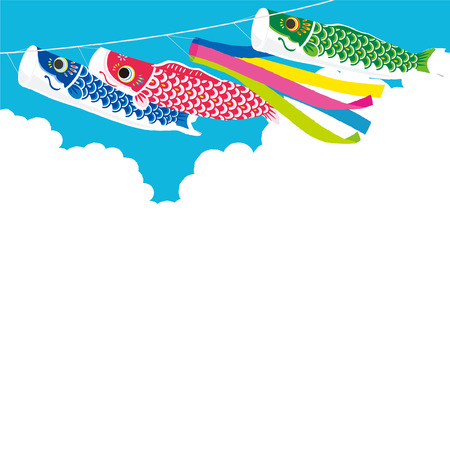 Carp streamer illustration Vettoriali