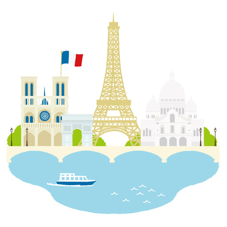 Paris travel landmarks, city architecture vector illustration