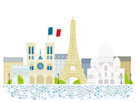 Paris travel landmarks, city architecture vector illustration