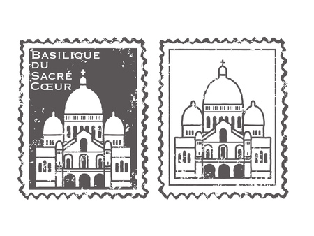 The sacred basilica Sacre Coeur stamp set Illustration