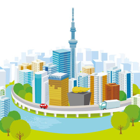 Tokyo city view vector Illustration Illustration
