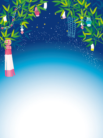 Vector illustration bamboo of Japanese TANABATA festival.