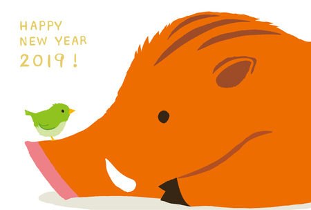 New Years Day, and bush warbler for wild boar. 2019 new years card