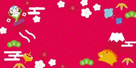 Fond de carte de sanglier et porte-bonheur du nouvel an japonais.