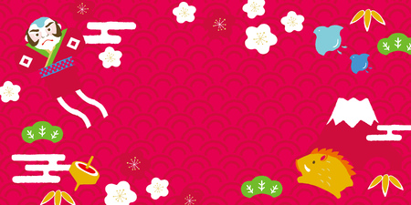 Wild boar and lucky charm Japanese New Year's card background.