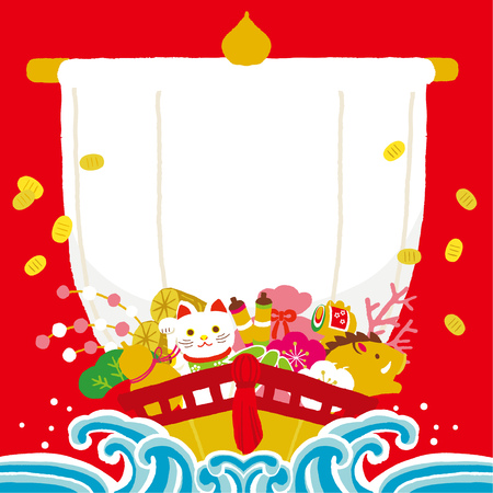 treasure ship illustration for New Year's Day. 免版税图像 - 115811000