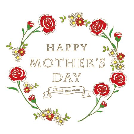 Happy mothers day layout design with carnation and ribbon Illustration