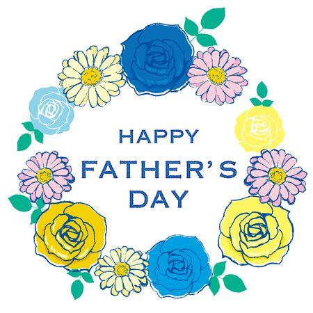 Happy fathers day layout design with roses and gerberas