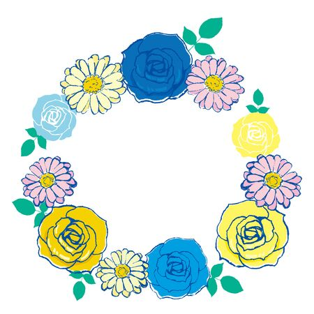 Vector round frame of roses and gerberas. Illustration wreath of flowers.