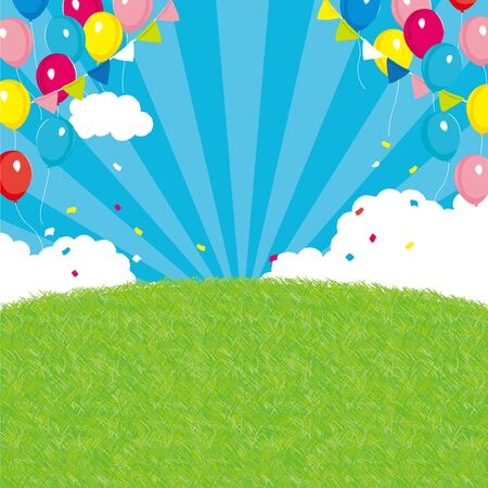 background of festival. Colorful balloons and garland background  イラスト・ベクター素材