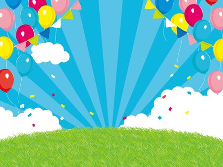 background of festival. Colorful balloons and garland background Illustration