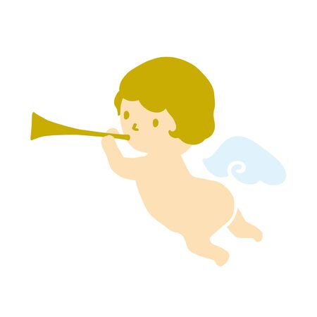 Angel blowing a trumpet vector illustration 일러스트