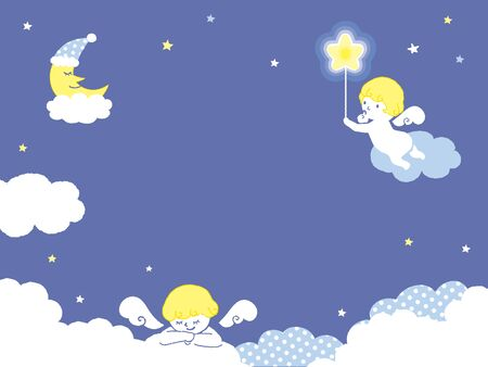 Cute angels with Night Background illustration