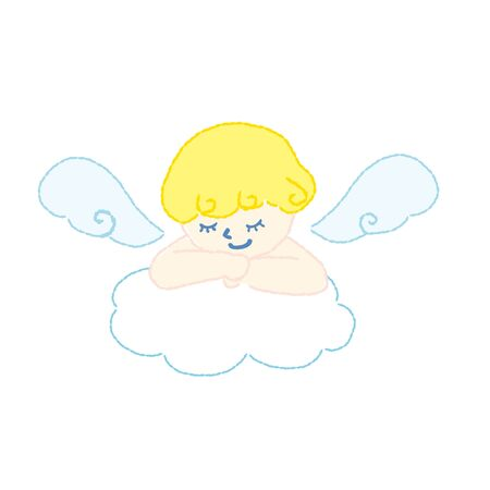 Angel sleep in clouds vector illustration