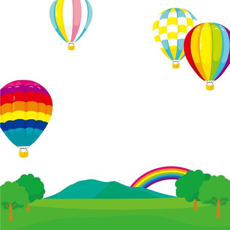 Colorful hot-air balloon landscape