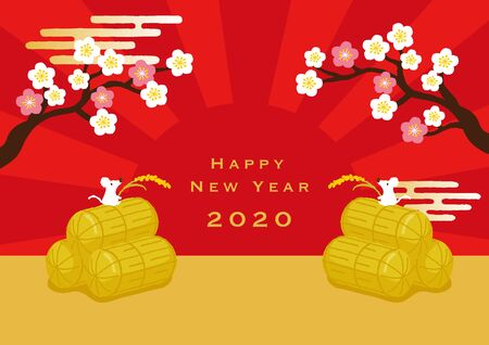 Mouse with ear of rice on the Rice bran. New year image illustration. 일러스트