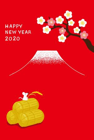 Mouse with ear of rice on the Rice bran for New year card illustration. Ilustração