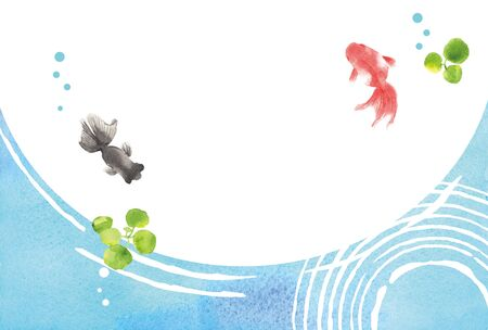 Goldfishes with ripples spreading on the water surface watercolor background.