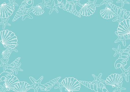 Starfishes and shells background vector illustration.