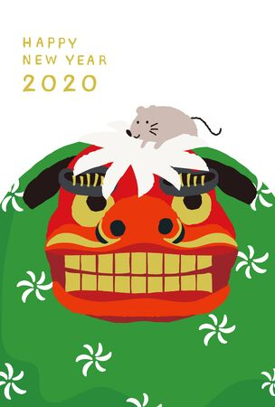lion dance with mouse vector illustration for new year card. 向量圖像