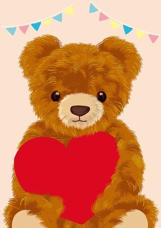 Teddybär mit Herzvektorillustration auf weißem Hintergrund