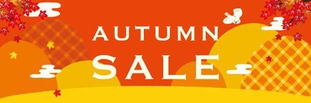 Autumn sale poster. Autumn mountain with maple leaves.