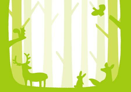Silhouette illustration of forest animals.  イラスト・ベクター素材