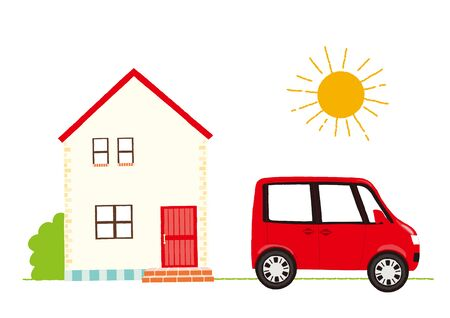 house and car vector illustration Illustration