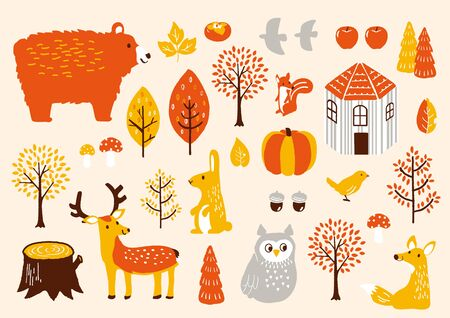 autumn forest pattern  vector illustration