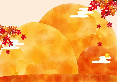 Autumn holidays background. Autumn mountain with maple leaves.