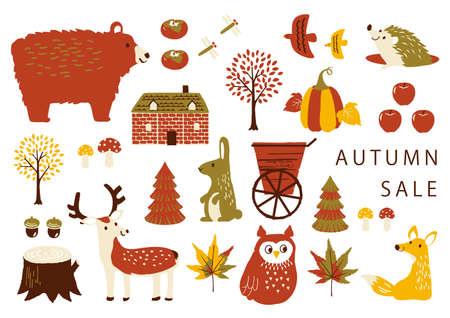 Autumn Illustration Set Autumn Pattern Textile