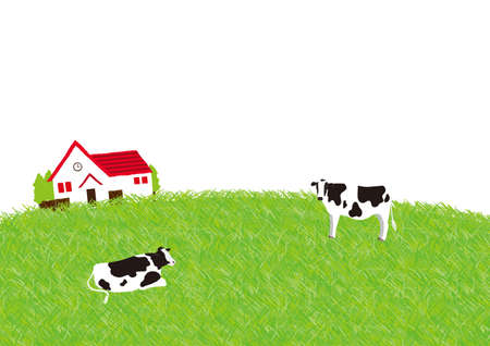 The scenery of the cow ranch Illustration