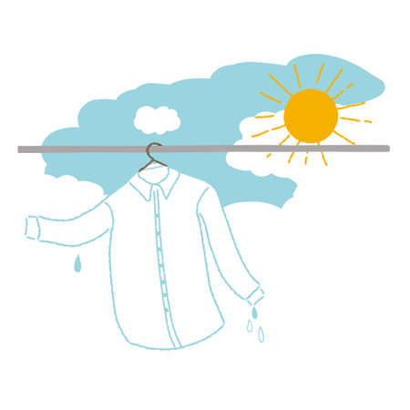 Illustration of drying a washed shirt in the sun