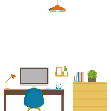 Room Remote Work Background Illustration