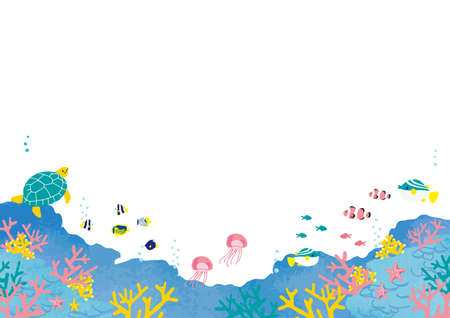 Fish at the Bottom of the Sea Illustration Background Illustration