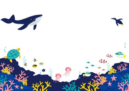 Fish at the Bottom of the Sea Illustration Background Illustration