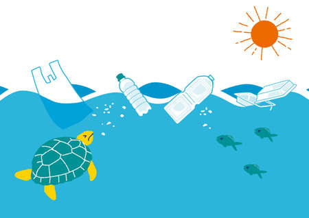 Illustration of marine pollution caused by plastic