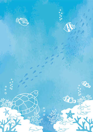 Fish at the Bottom of the Sea Background Illustration 矢量图像