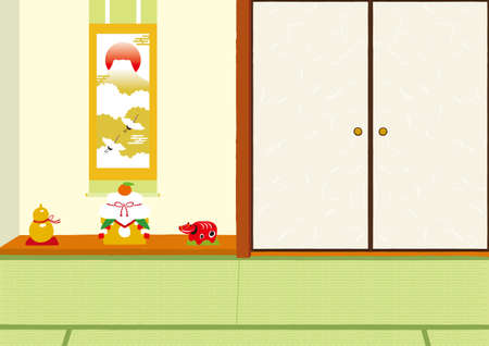 New Year's Japanese-style room illustration