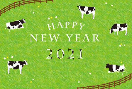 2021 New Year's card Cows relaxing at the ranch