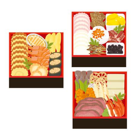 New Year's Esechi Cuisine Illustration